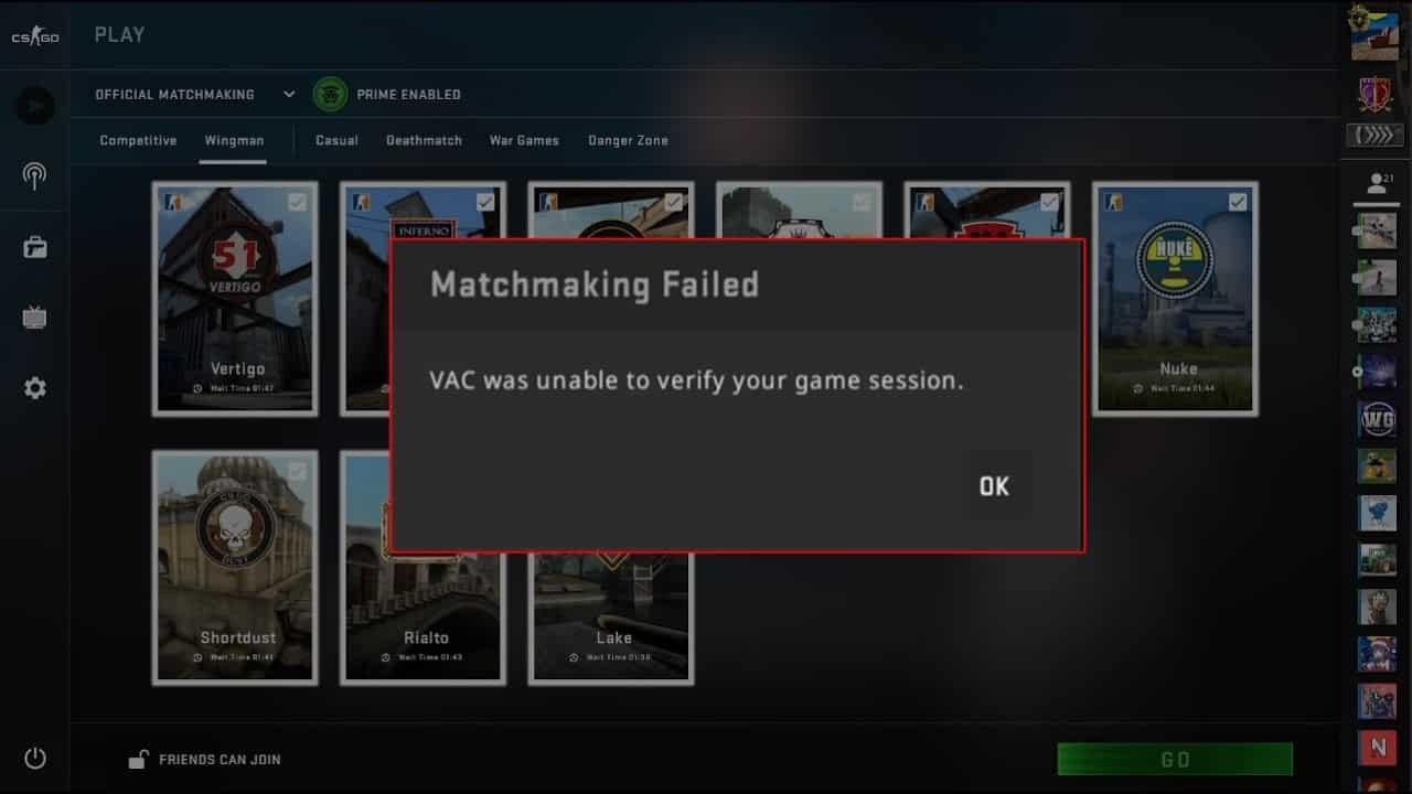 vac was unable to verify